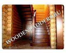 Деревянная лестница из ясеня КП «Маяк»