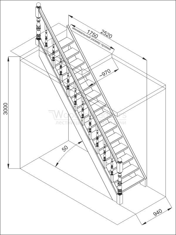 Чертежи деревянных лестниц на второй этаж