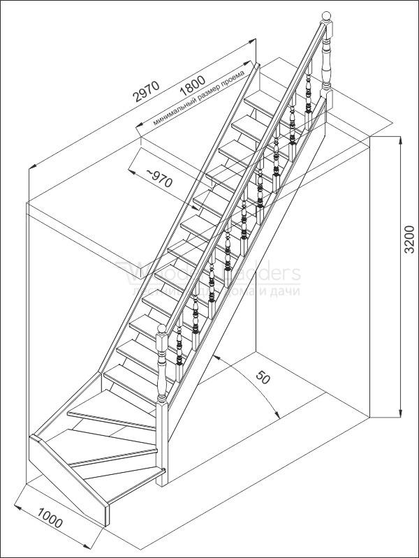 Чертеж лестницы г образная